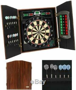 Electronic Dartboard Cabinet Set Includes 6 Steel Tips 6 Soft Tips Extra Tips