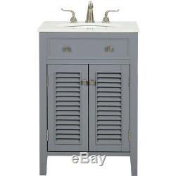 Elegant Lighting VF10424GR Cape Cod Grey and Brushed Steel Vanity Sink Set