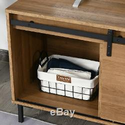 Farmhouse TV Stand withMedia Storage & Center Rack, Mid-Set Cabinet, Wood