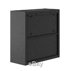 Fortress 30 Floating Textured Metal Garage Cabinet Shelves Grey, Set of 2