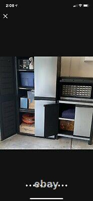 Garage Cabinets & storage 6pc Set HD Industrial Plastic Stainless Steel Panel