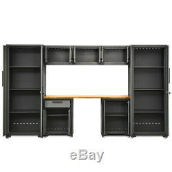 Garage Storage Tool Cabinet Set System Bamboo Worktop Bench Workshop 24 Gauge 8