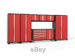 Garage Tool Organizer Red 7 Piece Set Stainless Steel Cabinet Lockers Workshop