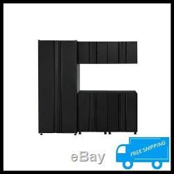 HUSKY Steel Garage Cabinet Set Black Tool Storage Organizer Shelves Locking 5PCS