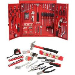 Hand Tool Set 151-Piece Red Metal Wall Cabinet With Two Adjustable Shelves