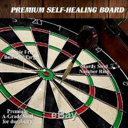Hanging Dartboard Cabinet Set 18 Self Healing Bristle 6 Steel Tip Darts Flights