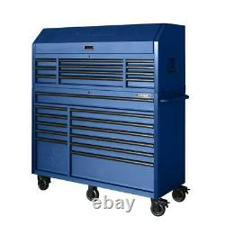 Heavy-Duty 56 in. W 23-Drawer Combination Tool Chest and Cabinet Set, Matte Blue