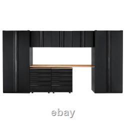 Heavy Duty Welded 156 In. W X 81 In. H X 24 In. D Steel Garage Cabinet Set In Bl