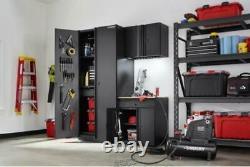 Heavy Duty Welded 64 in. W x 81 in. H x 24 in. D Steel Garage Cabinet Set Black