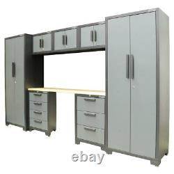 Hilka Professional 24 Gauge Steel 8 Piece Modular Cabinet Set