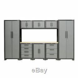 Hilka Professional 24 Gauge Steel 9 Piece Modular Cabinet Set
