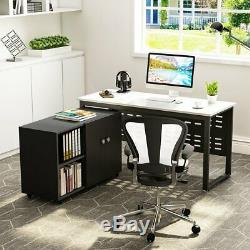 Home Office Morden Computer Desk Table File Cabinet Set with 2 Tier Shelves New