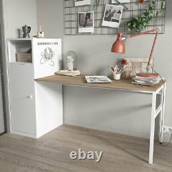 Home Office Workstation L-Shaped Computer Desk Set with Storage Cupboard Cabinet