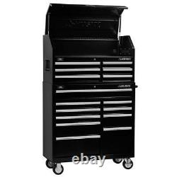 Husky 41 in. 16-Drawer Chest and Cabinet Set, Rust-Resistant Powder Coat Black