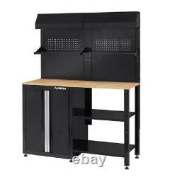 Husky 53 in. W x 69 in. H x 19 in. D Steel Garage Cabinet Set in Black (6-Piece)