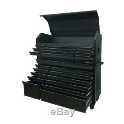 Husky 56 23-Drawer Tool Chest and Rolling Cabinet Set 18 Ga Steel 22 D Black