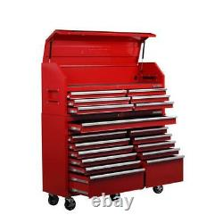 Husky 61 in. W 18-Drawer Combination Tool Chest and Rolling Cabinet Set in Red