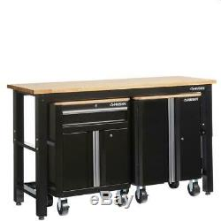 Husky 72 in. W x 42 in. H x 24 in. D Steel Garage Cabinet Set in Black (3-Piece)