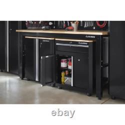 Husky Cabinet Set 3-Piece 2-Shelf Adjustable Feet Ball Bearing Slide Wood Black