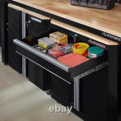 Husky Cabinet Set 3-Piece Bulk Storage Heavy Duty Locking Door Adjustable Feet