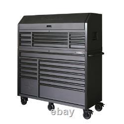 Husky Cabinet Set 56 in. 23-Drawer Soft-Close Wheel-Lock Steel Matte Black