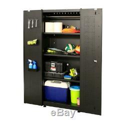 Husky Garage Cabinet Set 3-Piece Heavy-Duty Welded Steel Storage (Matte Black)