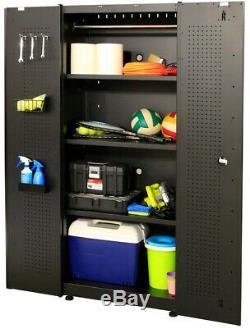 Husky Garage Cabinet Set 78 in. W x 75 in. H Lockable Steel Black (5-Piece)