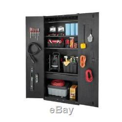 Husky Garage Storage Cabinet Set 64 in. X 81 in. X 24 in. Steel Black (3-Piece)