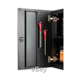 Husky Heavy Duty Welded 128x81x24 in Steel Garage Cabinet Set in Black (6-Piece)