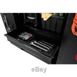 Husky Heavy Duty Welded 92x81x24 in Steel Garage Cabinet Set in Black (4-Piece)
