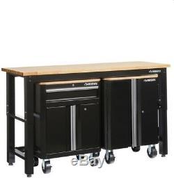 Husky Steel Garage Cabinet Set in Black (3-Piece) 1 Drawer 2 Door Grommet New