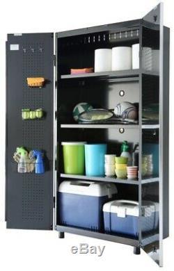 Husky Steel Garage Cabinet Set in Black (8-Piece) 1 Drwaer 2 Door Grommet New