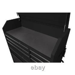 Husky Tool Chest Combo Heavy-Duty 56 in. W 18-Drawer, Cabinet Set in Matte Black