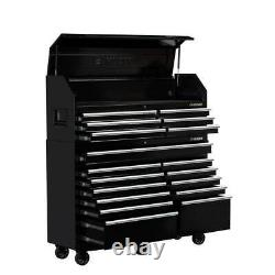 Husky Tool Chest Rolling Cabinet Set 61-Inch W 18-Drawer Combination Gloss Black