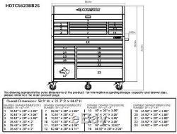 Husky Tool Storage Cabinet Set 23-Drawer Chest Rolling Wheels Steel Black Matte