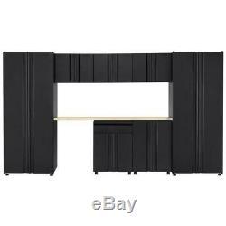 Husky Welded 133 in. W x 75 in. H x 19 in. D Steel Garage Cabinet Set in Black