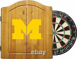Imperial Dart Cabinet Set Steel Tip Bristle Dartboard Michigan Wolverines