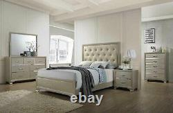 Kings Brand Furniture Champagne Wood with Faux Leather King Size Bedroom Set