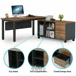 L-Shaped Computer Desk with Storage Drawers Cabinet Set Home Office Laptop Table