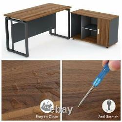 L Shaped Computer Office Working Desk Set with File Cabinet Dark Walnut for Home