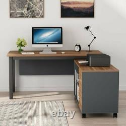 Large Executive Office Desk with Drawers and Shelves 55 Desk+Mobile Cabinet Set