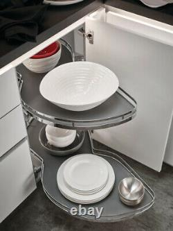 Lemans II Set Two Shelf Lazy Susan with Soft-Close for Blind Corner Cabinets