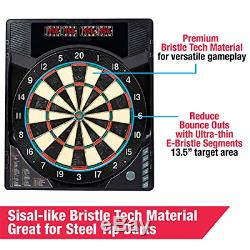 MD Sports BristleSmart Dartboard with Cabinet, Steel Tip Darts Set, Electronic