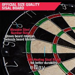 MD Sports Bristle Dartboard Cabinet Set with LED Light and 6 Steel Tip Darts NEW