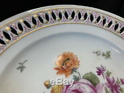 Meissen Gold Flowers Reticulated Dinner Cabinet Plates 9 3/8 Sword 1800s Set 4
