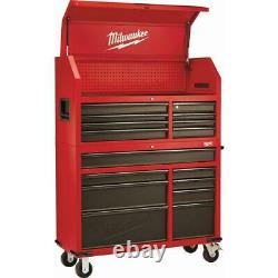 Milwaukee 16-Drawer Red Steel Tool Chest and Rolling Cabinet Set, Lockable