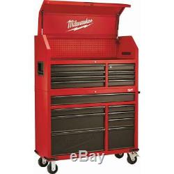 Milwaukee 16 Drawer Steel Tool Chest Rolling Cabinet Set Textured Red Black New