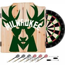Milwaukee Bucks NBA Dartboard Cabinet Set Includes 6 Steel Tip Darts Scoreboard