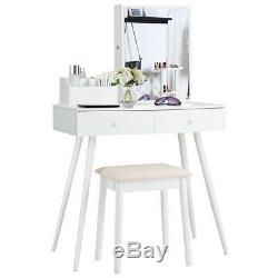 Mirrored Dressing Table Set Vanity Table withLockable Jewelry Armoire Cabinet