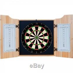 Modelo Dart Board Set with Cabinet 6 Steel Tip Darts and Sisal Fiber Dartboard
